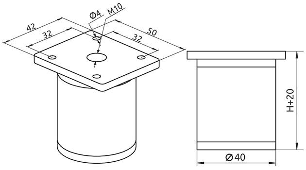 Опора регулируемая цилиндрическая Giff NA 03C00 Н=150 алюминий