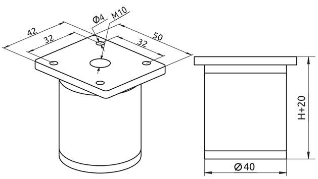 Опора регулируемая цилиндрическая Giff NA 03C00 Н=80 алюминий