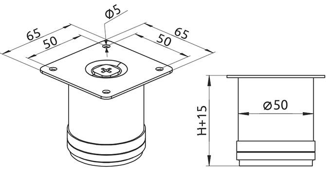 Опора регулируемая цилиндрическая Giff Rondo 50/100 хром