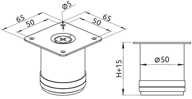 Опора регулируемая цилиндрическая Giff Rondo 50/60 хром