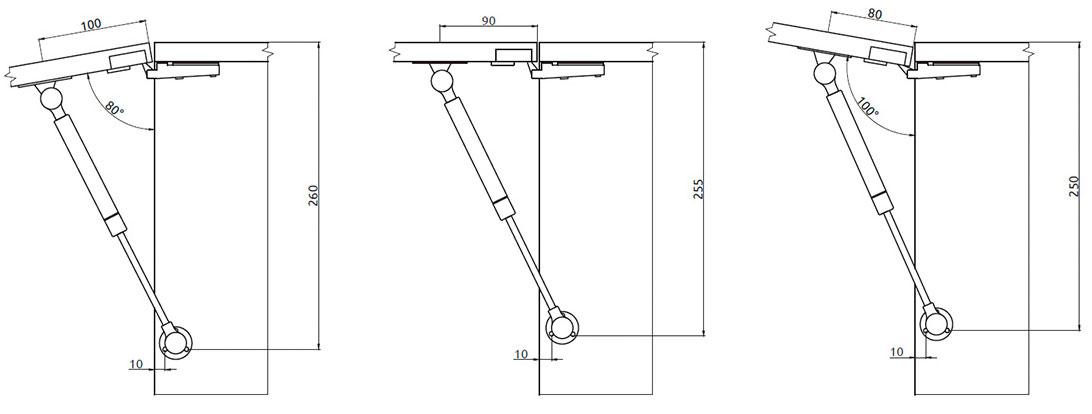 Подъемник Giff Alto газовый фрикционный L=245 мм 80 N белый