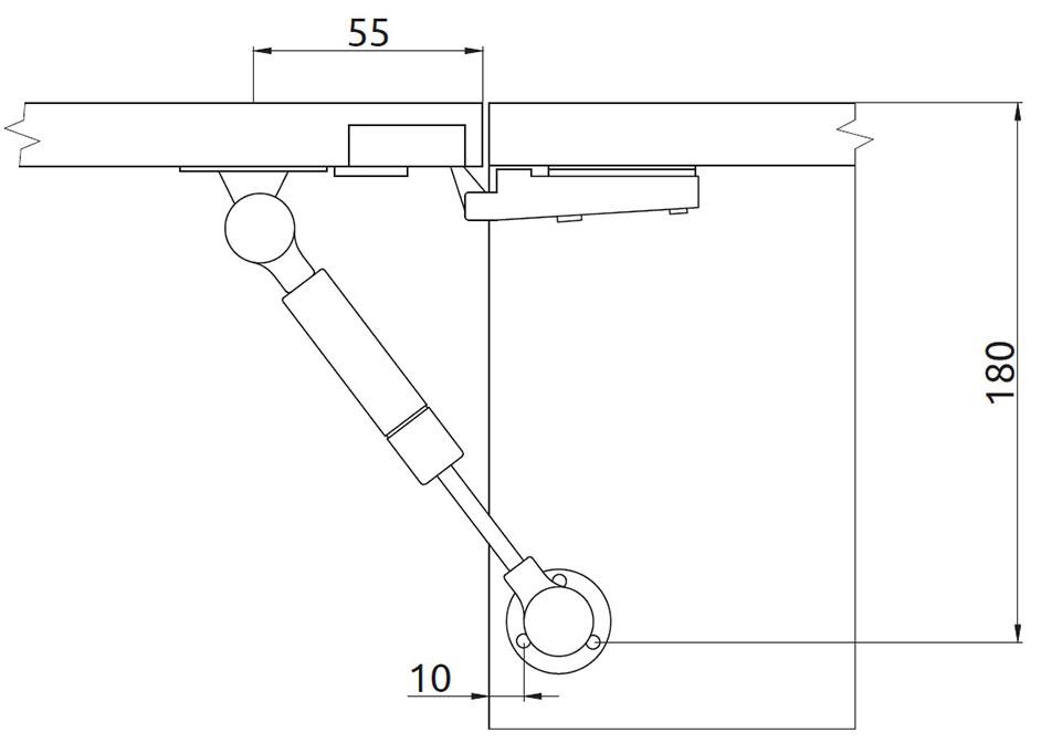 Подъемник Giff Alto газовый L=155 мм 80 N белый