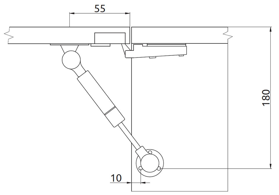 Подъемник Giff Alto газовый L=155 мм 80 N серебро