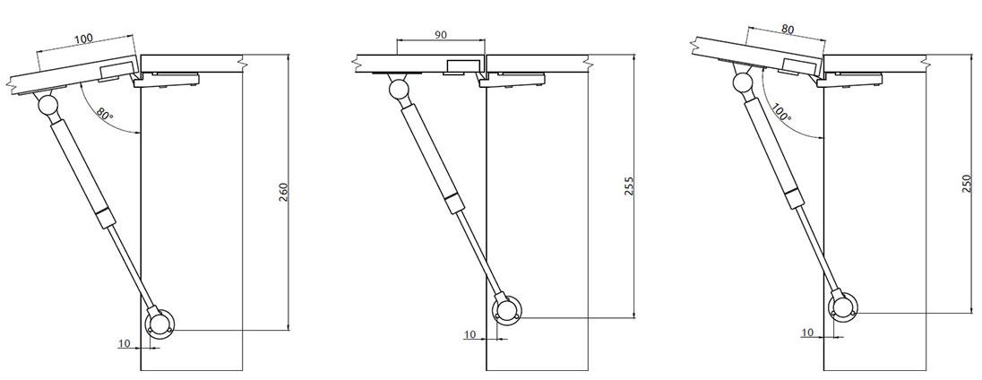 Подъемник Giff Alto газовый L=245 мм 120 N белый