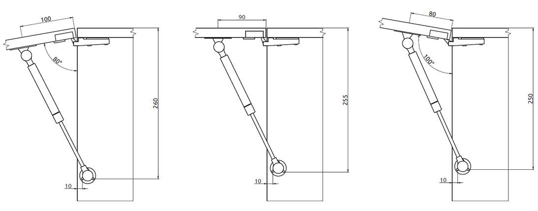 Подъемник Giff Alto газовый L=245 мм 60 N белый