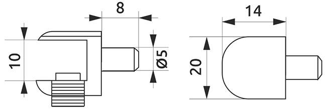 Полкодержатель для стекла с фиксацией Giff