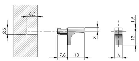 Полкодержатель для стекла Italiana Ferramenta K-Line со штифтом (17141)