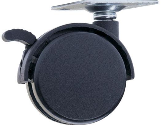 Ролик с площадкой и тормозом Giff Mobili d=50 черный
