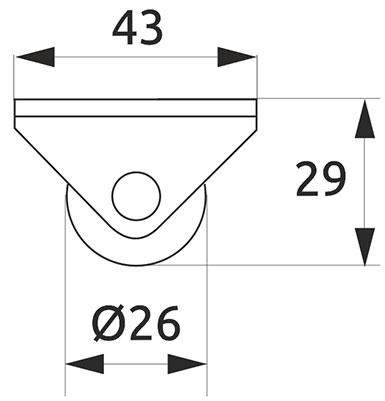 Ролик с площадкой направленный Giff d=26 черный