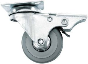 Ролик с площадкой резиновый и тормозом Giff Industry d=50 серый