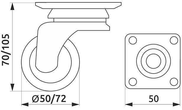 Ролик с площадкой резиновый Giff Industry d=50 серый