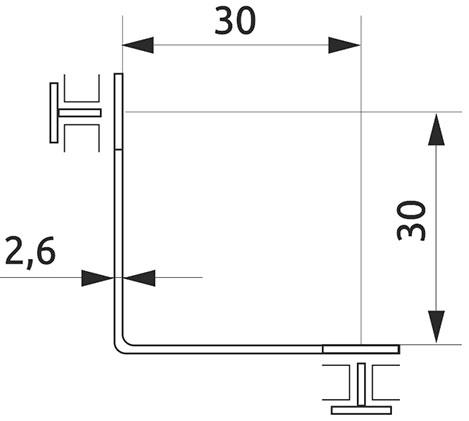 Соединитель для стекла двойной 90° Giff хром