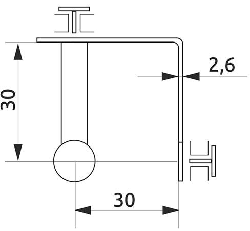 Соединитель для стекла тройной 90° Giff хром